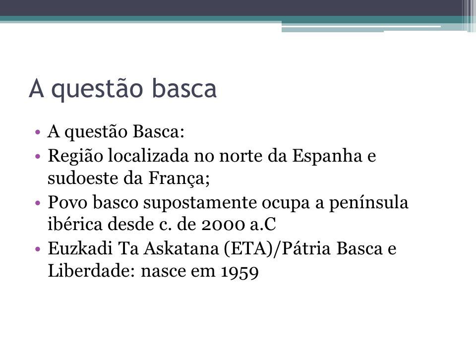 A questão basca A questão Basca: Região localizada no norte da Espanha e sudoeste da França; Povo basco supostamente ocupa a península ibérica desde c