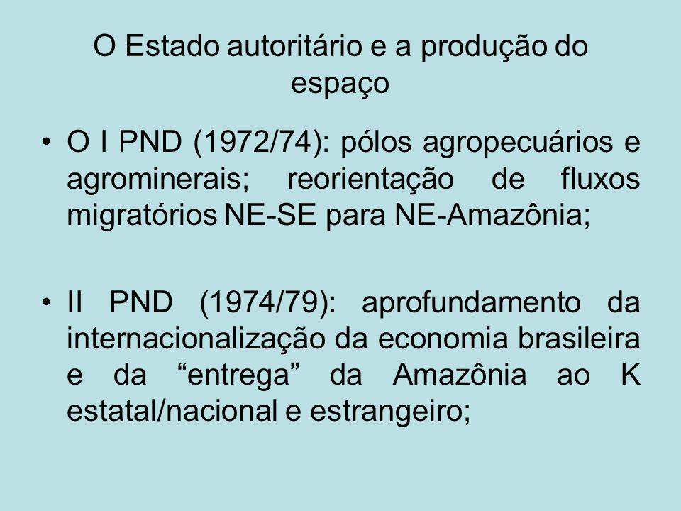 Os grandes programas de governo POLAMAZÔNIA/II PND-(Pólos agropecuários e agrominerais da Amazônia): promover o aproveitamento integrado das potencialidades agropecuárias, agroindustriais, florestais, em áreas prioritárias da Amazônia (vide mapa) Projeto Grande Carajás-PGC: criação de um complexo mínero-metalúrgico na Amazônia Oriental, envolvendo os eixos Carajás-Itaqui e Trombetas-Belém