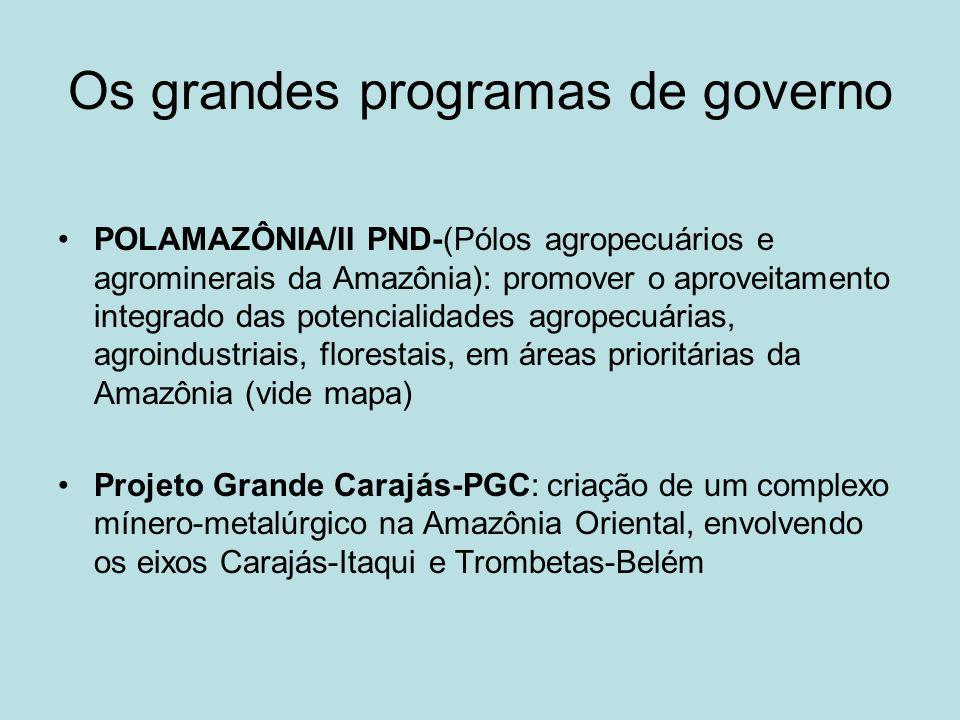 Os grandes programas de governo POLAMAZÔNIA/II PND-(Pólos agropecuários e agrominerais da Amazônia): promover o aproveitamento integrado das potencial