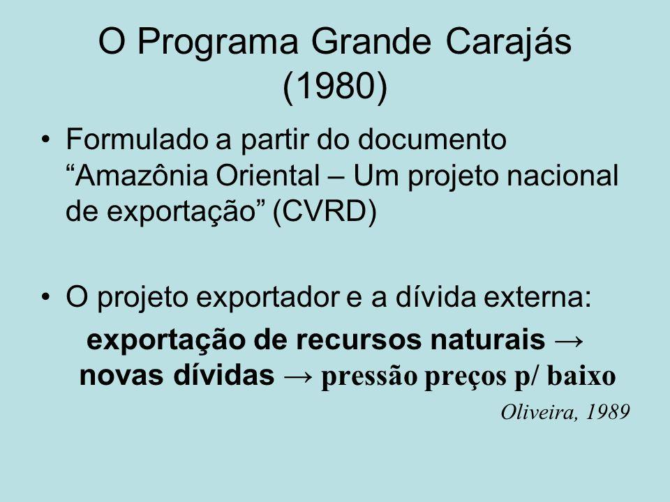 O Programa Grande Carajás (1980) Formulado a partir do documento Amazônia Oriental – Um projeto nacional de exportação (CVRD) O projeto exportador e a