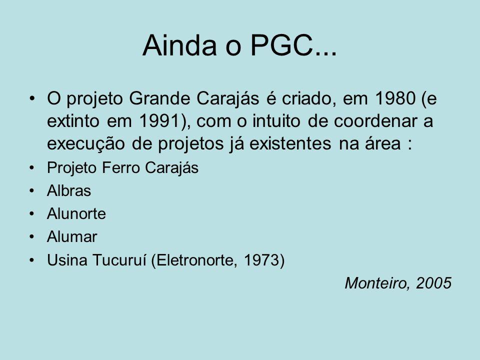 Ainda o PGC... O projeto Grande Carajás é criado, em 1980 (e extinto em 1991), com o intuito de coordenar a execução de projetos já existentes na área