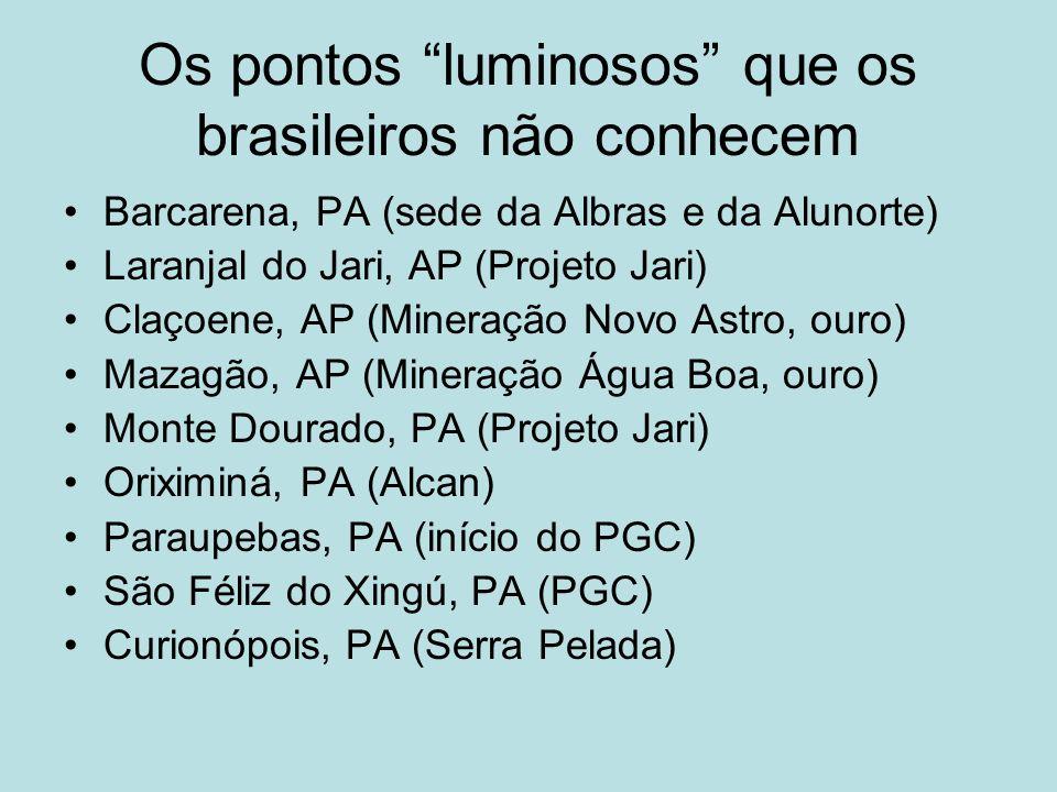 Os pontos luminosos que os brasileiros não conhecem Barcarena, PA (sede da Albras e da Alunorte) Laranjal do Jari, AP (Projeto Jari) Claçoene, AP (Min