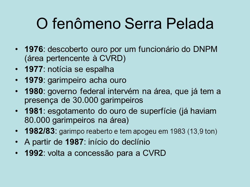 O fenômeno Serra Pelada 1976: descoberto ouro por um funcionário do DNPM (área pertencente à CVRD) 1977: notícia se espalha 1979: garimpeiro acha ouro