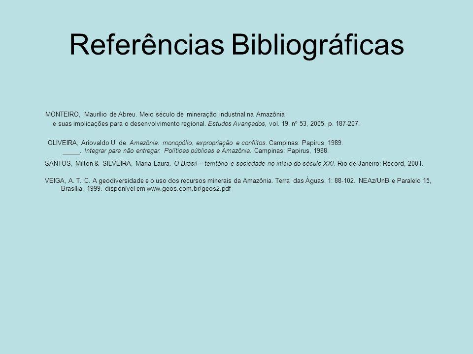 Referências Bibliográficas MONTEIRO, Maurílio de Abreu. Meio século de mineração industrial na Amazônia e suas implicações para o desenvolvimento regi