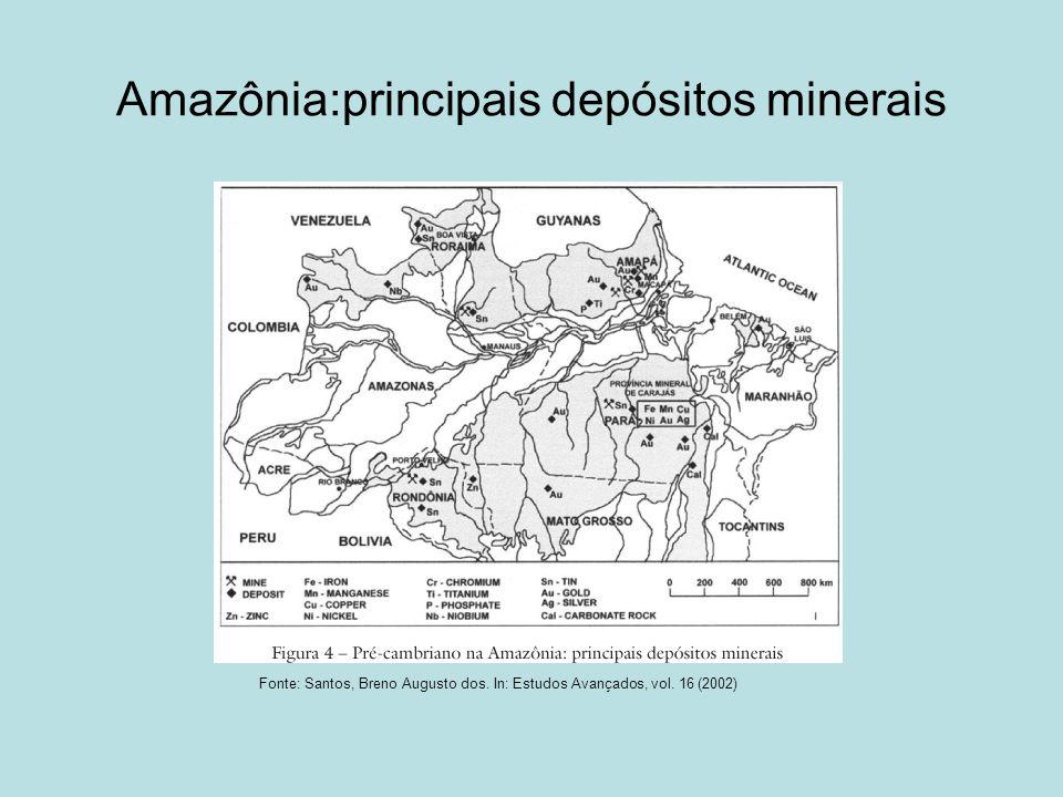 Alguns recursos minerais Rondônia: cassiterita (estanho) Roraima: diamante e urânio Vale do Tapajós (PA): ouro Vale do Trombetas: bauxita + cobre, calcário, chumbo etc Amapá: manganês