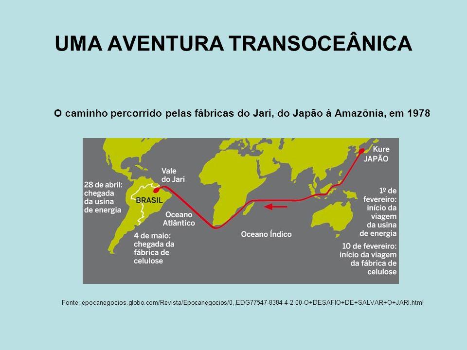 UMA AVENTURA TRANSOCEÂNICA O caminho percorrido pelas fábricas do Jari, do Japão à Amazônia, em 1978 Fonte: epocanegocios.globo.com/Revista/Epocanegoc