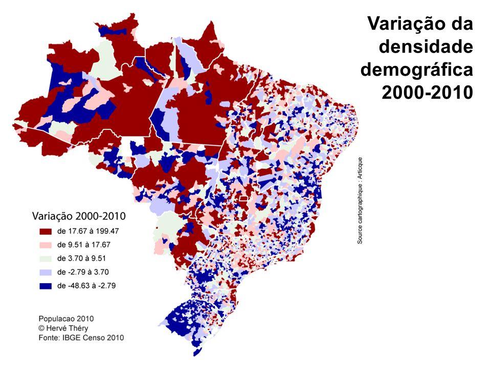 Variação da densidade demográfica 2000-2010