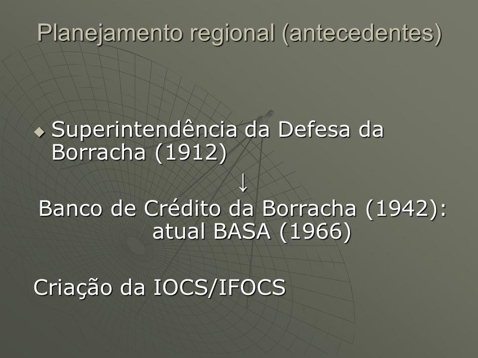 Planejamento regional (antecedentes) Superintendência da Defesa da Borracha (1912) Superintendência da Defesa da Borracha (1912) Banco de Crédito da B