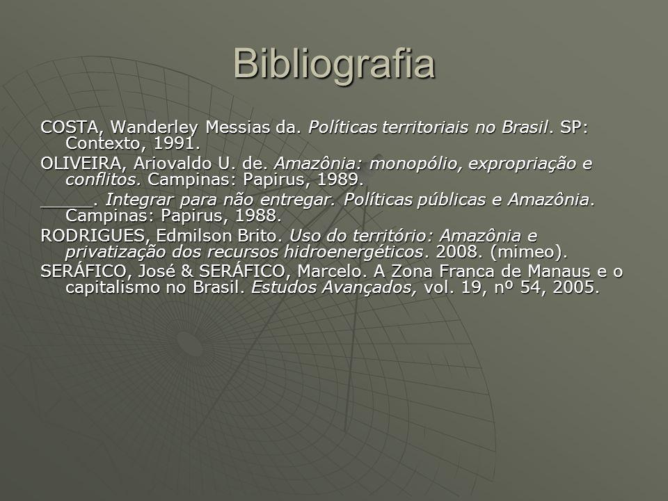 Bibliografia COSTA, Wanderley Messias da. Políticas territoriais no Brasil. SP: Contexto, 1991. OLIVEIRA, Ariovaldo U. de. Amazônia: monopólio, exprop