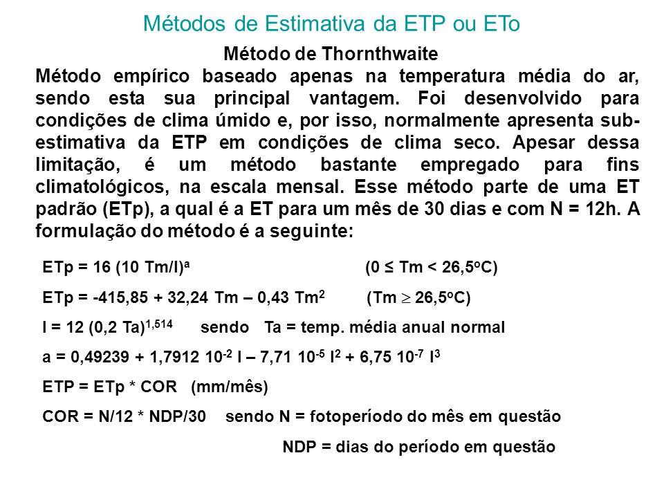 Métodos de Estimativa da ETP ou ETo Método de Thornthwaite Método empírico baseado apenas na temperatura média do ar, sendo esta sua principal vantage