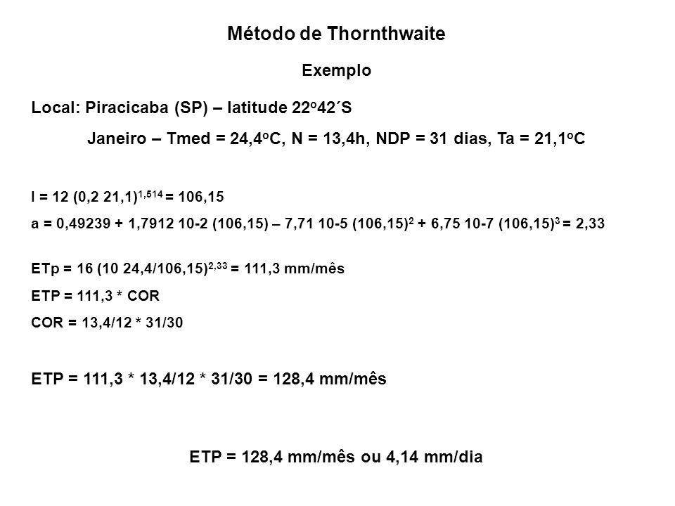 Método de Thornthwaite Exemplo Local: Piracicaba (SP) – latitude 22 o 42´S Janeiro – Tmed = 24,4 o C, N = 13,4h, NDP = 31 dias, Ta = 21,1 o C I = 12 (