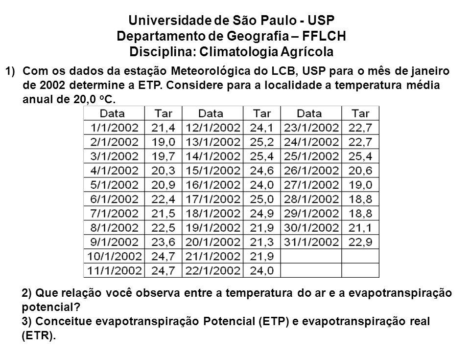 1)Com os dados da estação Meteorológica do LCB, USP para o mês de janeiro de 2002 determine a ETP. Considere para a localidade a temperatura média anu