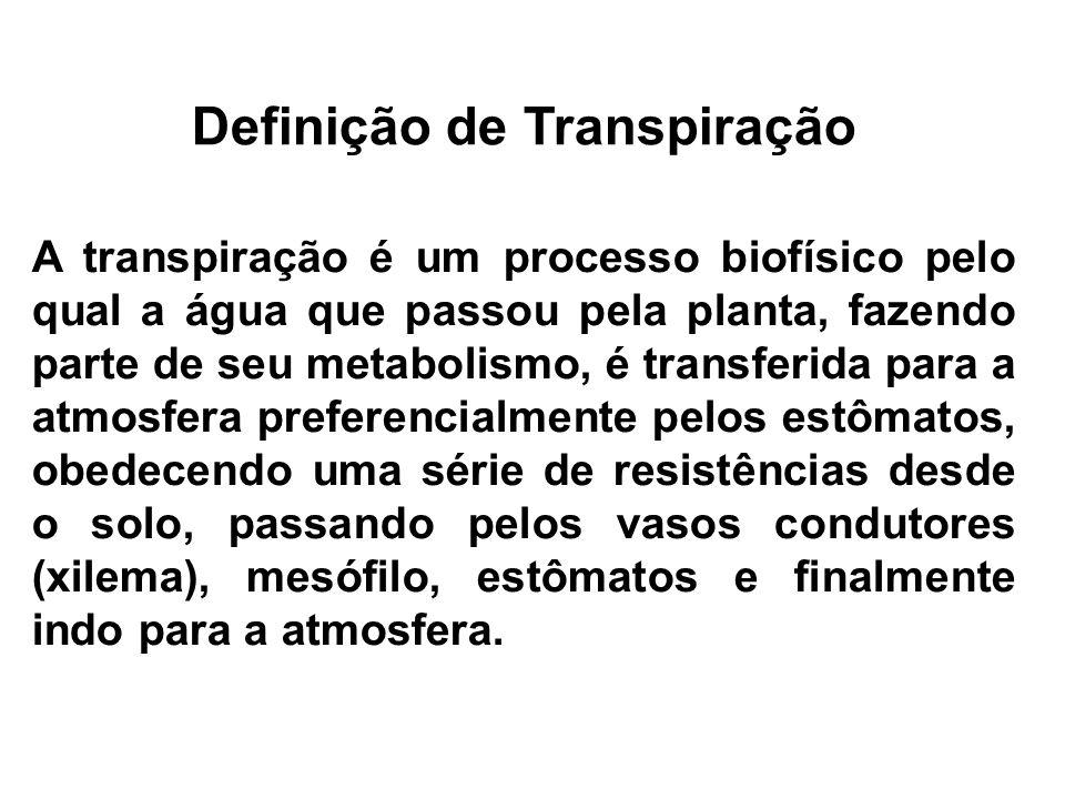 Definição de Transpiração A transpiração é um processo biofísico pelo qual a água que passou pela planta, fazendo parte de seu metabolismo, é transfer