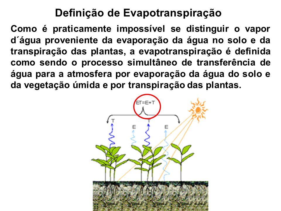 Definição de Evapotranspiração Como é praticamente impossível se distinguir o vapor d´água proveniente da evaporação da água no solo e da transpiração