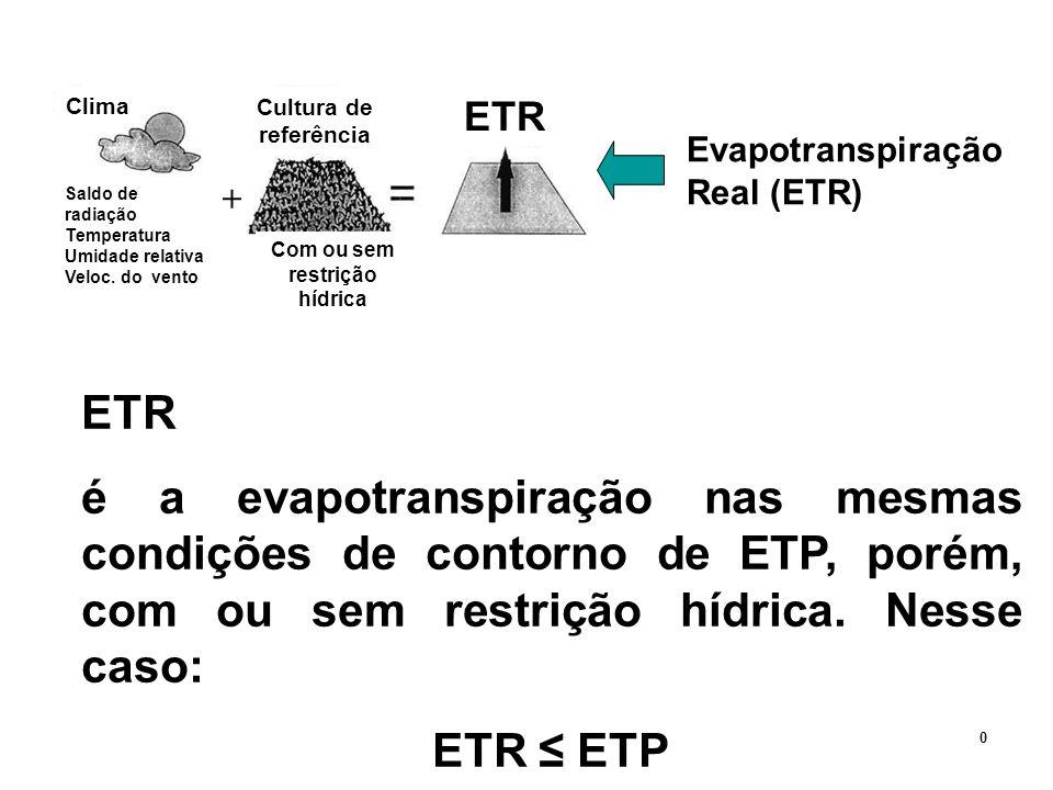 Evapotranspiração Real (ETR) Clima Saldo de radiação Temperatura Umidade relativa Veloc. do vento Cultura de referência Com ou sem restrição hídrica E