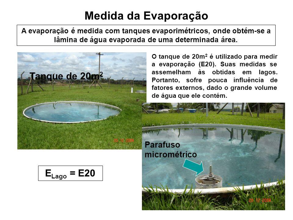 Medida da Evaporação Tanque de 20m 2 Parafuso micrométrico O tanque de 20m 2 é utilizado para medir a evaporação (E20). Suas medidas se assemelham às