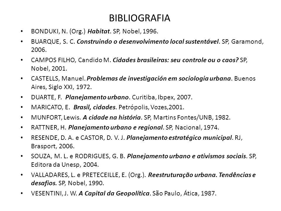 BIBLIOGRAFIA BONDUKI, N. (Org.) Habitat. SP, Nobel, 1996. BUARQUE, S. C. Construindo o desenvolvimento local sustentável. SP, Garamond, 2006. CAMPOS F