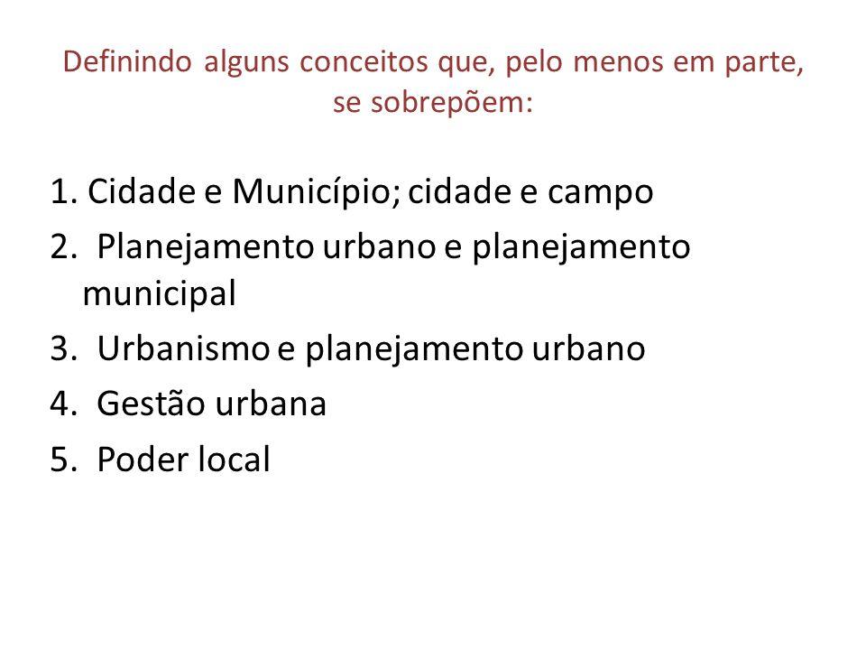 Definindo alguns conceitos que, pelo menos em parte, se sobrepõem: 1. Cidade e Município; cidade e campo 2. Planejamento urbano e planejamento municip