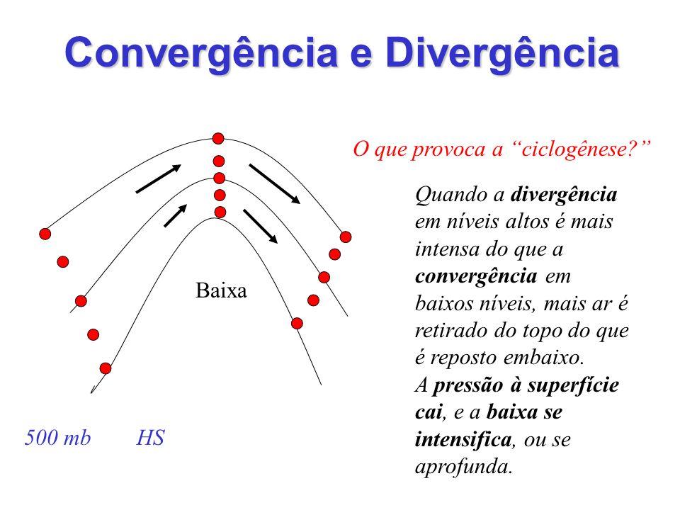 O que provoca a ciclogênese? 500 mb HS Convergência e Divergência Quando a divergência em níveis altos é mais intensa do que a convergência em baixos