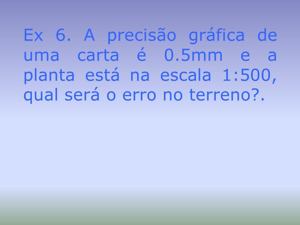 Ex 6. A precisão gráfica de uma carta é 0.5mm e a planta está na escala 1:500, qual será o erro no terreno?.