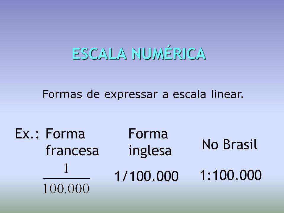 ESCALA NUMÉRICA ESCALA NUMÉRICA Formas de expressar a escala linear. Ex.: 1/100.000 1:100.000 Forma francesa Forma inglesa No Brasil