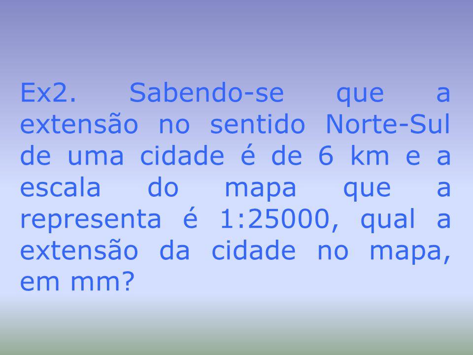 Ex2. Sabendo-se que a extensão no sentido Norte-Sul de uma cidade é de 6 km e a escala do mapa que a representa é 1:25000, qual a extensão da cidade n