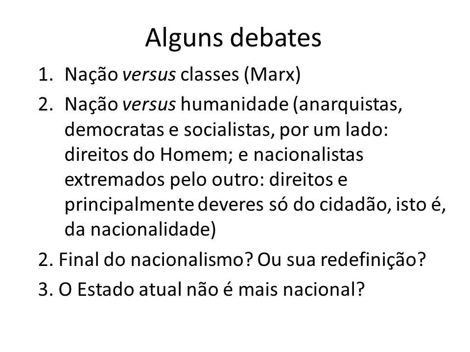 Alguns debates 1.Nação versus classes (Marx) 2.Nação versus humanidade (anarquistas, democratas e socialistas, por um lado: direitos do Homem; e nacio