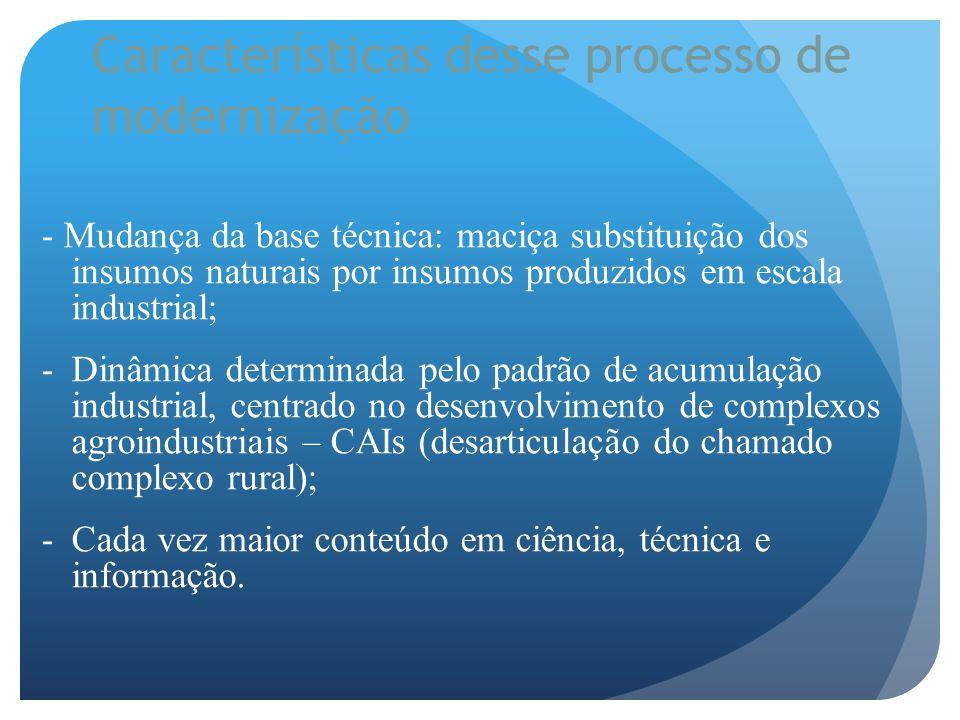 Características desse processo de modernização - Mudança da base técnica: maciça substituição dos insumos naturais por insumos produzidos em escala in
