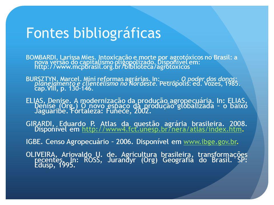 Fontes bibliográficas BOMBARDI, Larissa Mies. Intoxicação e morte por agrotóxicos no Brasil: a nova versão do capitalismo oligopolizado. Disponível em