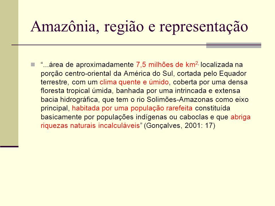 Amazônia: outras representações Região natural/inferno verde Vazio demográfico/vazio cultural População primitiva e indolente Fonte incomensurável de riquezas Região do futuro Pulmão do mundo