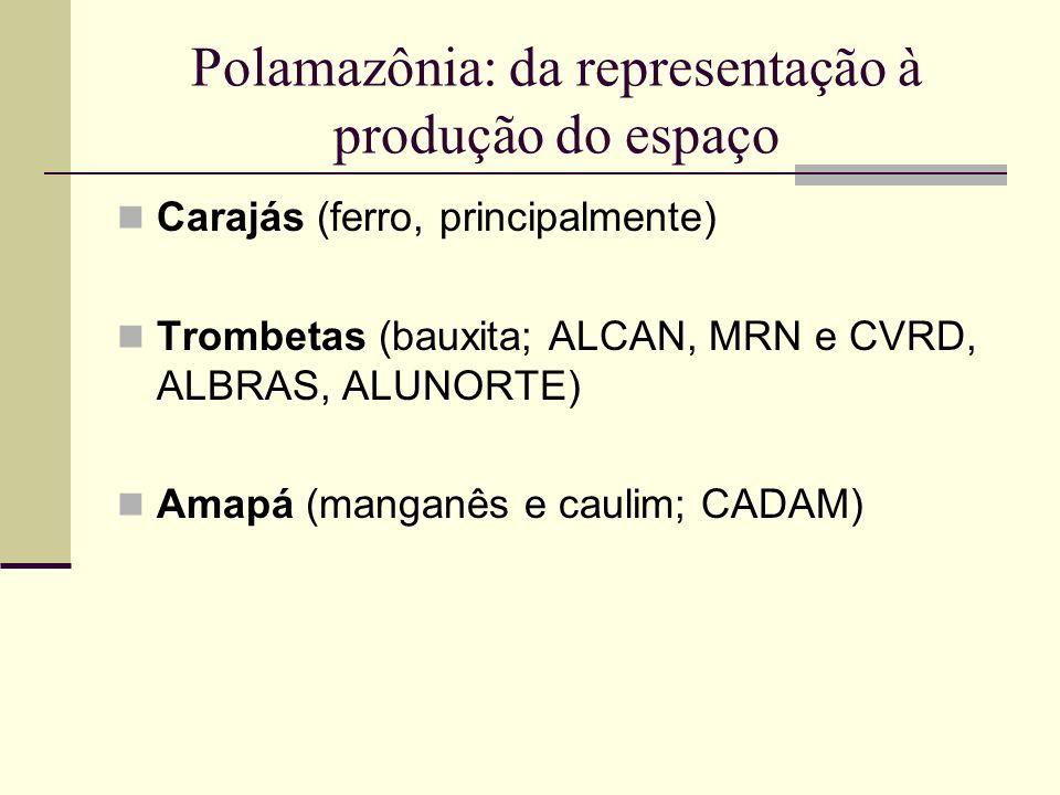 Polamazônia: da representação à produção do espaço Carajás (ferro, principalmente) Trombetas (bauxita; ALCAN, MRN e CVRD, ALBRAS, ALUNORTE) Amapá (man