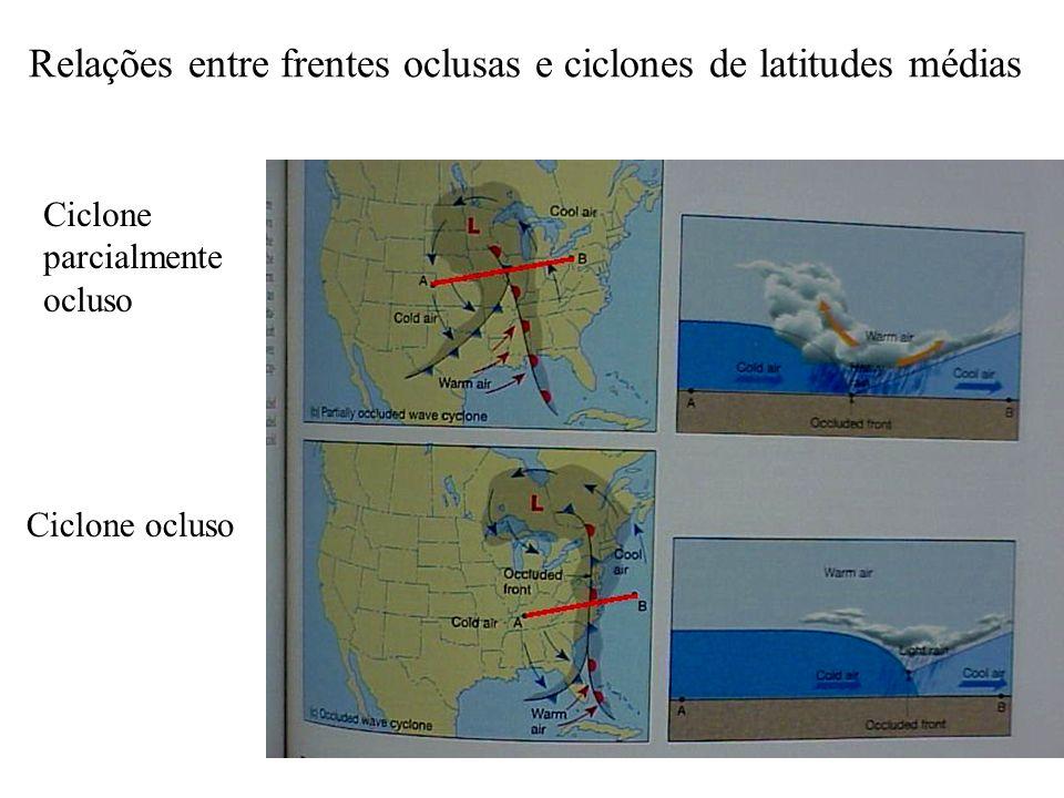Relações entre frentes oclusas e ciclones de latitudes médias Ciclone parcialmente ocluso Ciclone ocluso