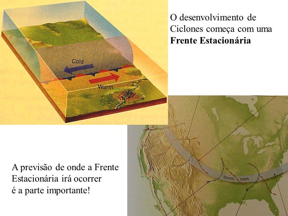 O desenvolvimento de Ciclones começa com uma Frente Estacionária A previsão de onde a Frente Estacionária irá ocorrer é a parte importante!