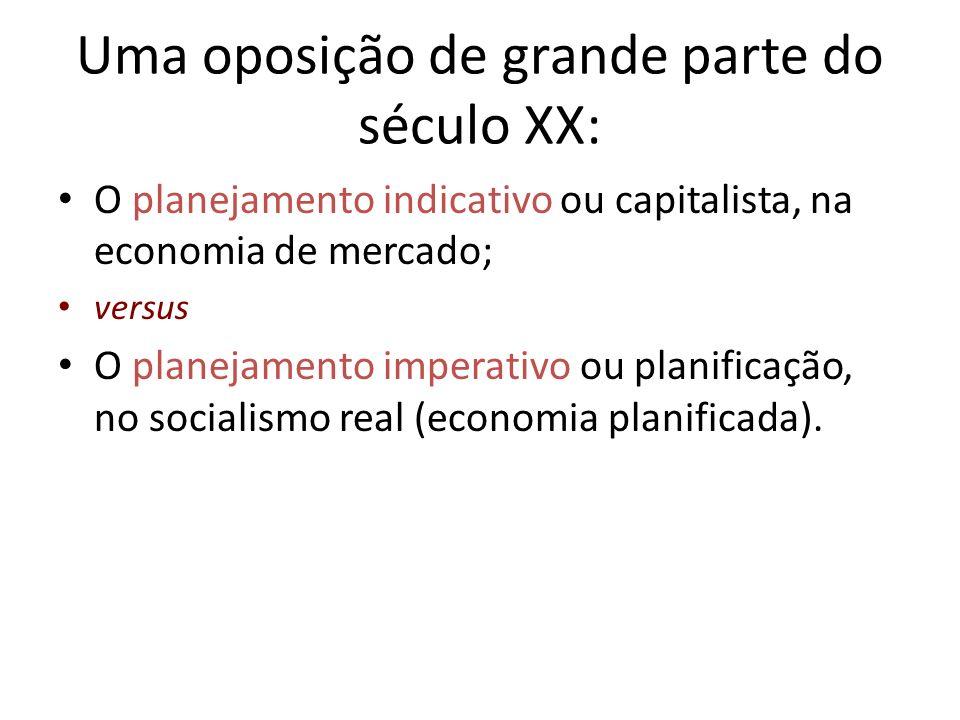 Uma oposição de grande parte do século XX: O planejamento indicativo ou capitalista, na economia de mercado; versus O planejamento imperativo ou plani