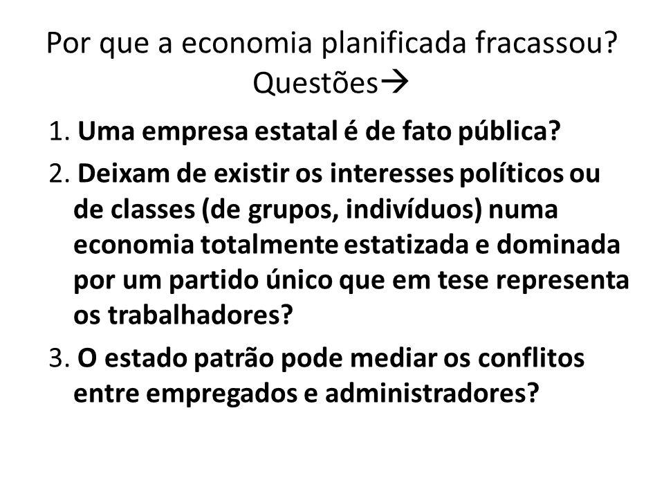 Por que a economia planificada fracassou? Questões 1. Uma empresa estatal é de fato pública? 2. Deixam de existir os interesses políticos ou de classe
