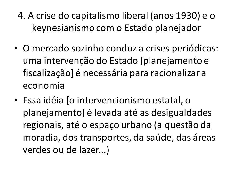 4. A crise do capitalismo liberal (anos 1930) e o keynesianismo com o Estado planejador O mercado sozinho conduz a crises periódicas: uma intervenção
