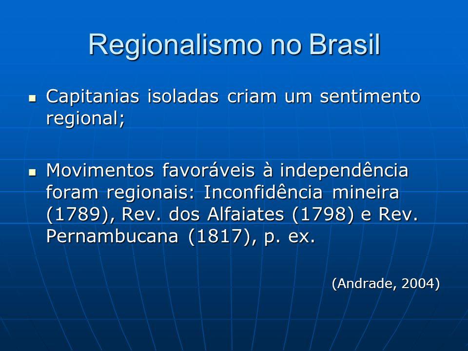 Regionalismo no Brasil Capitanias isoladas criam um sentimento regional; Capitanias isoladas criam um sentimento regional; Movimentos favoráveis à ind