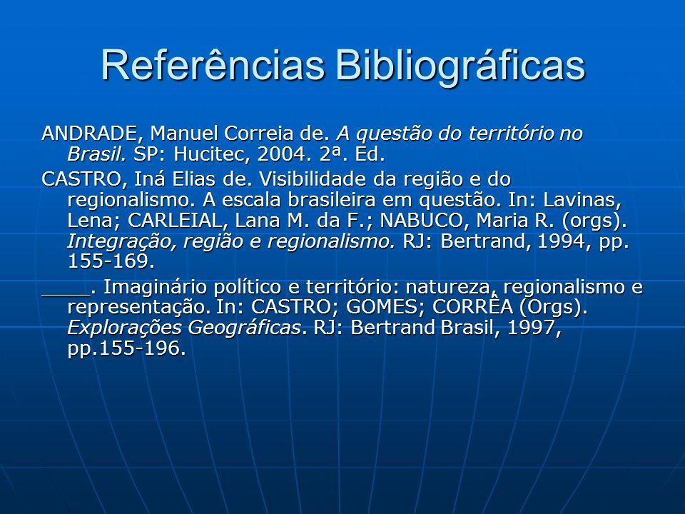 Referências Bibliográficas ANDRADE, Manuel Correia de. A questão do território no Brasil. SP: Hucitec, 2004. 2ª. Ed. CASTRO, Iná Elias de. Visibilidad