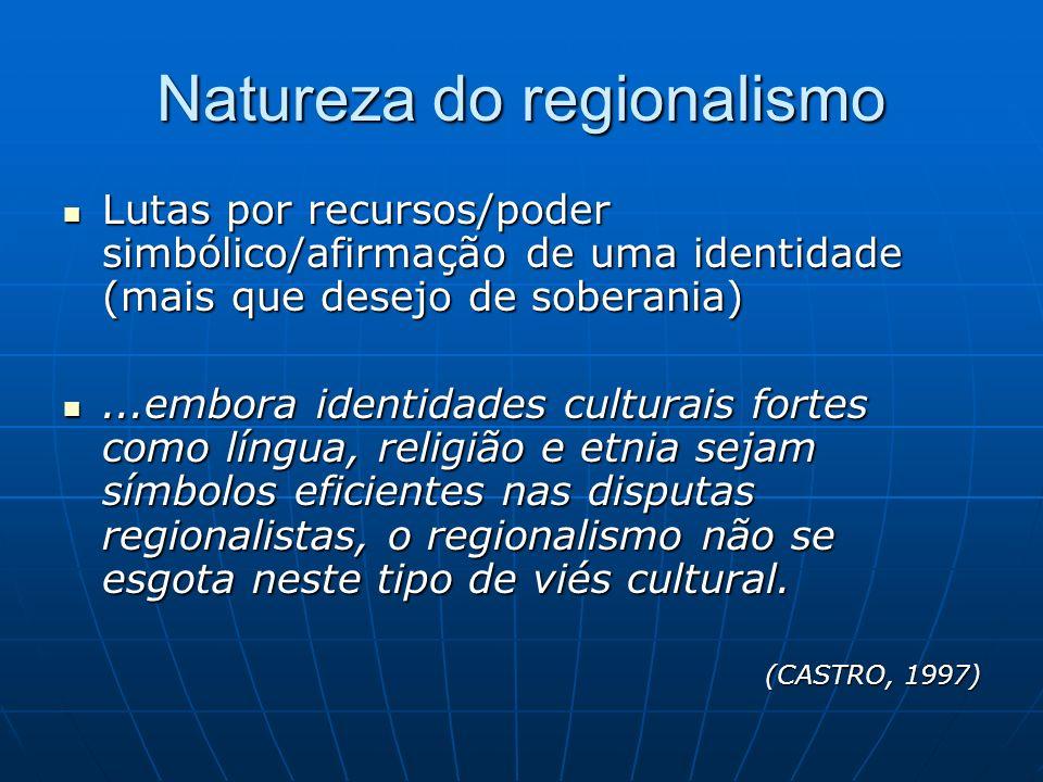 Natureza do regionalismo Lutas por recursos/poder simbólico/afirmação de uma identidade (mais que desejo de soberania) Lutas por recursos/poder simból