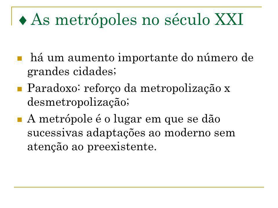 As metrópoles no século XXI há um aumento importante do número de grandes cidades; Paradoxo: reforço da metropolização x desmetropolização; A metrópol