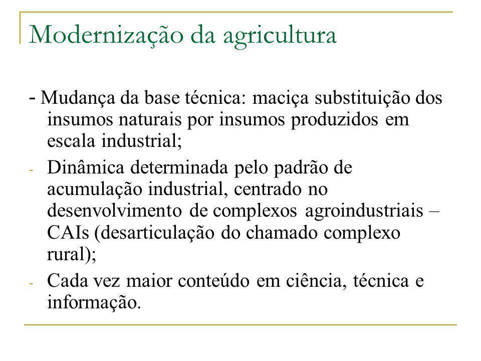 Modernização da agricultura - Mudança da base técnica: maciça substituição dos insumos naturais por insumos produzidos em escala industrial; - Dinâmic