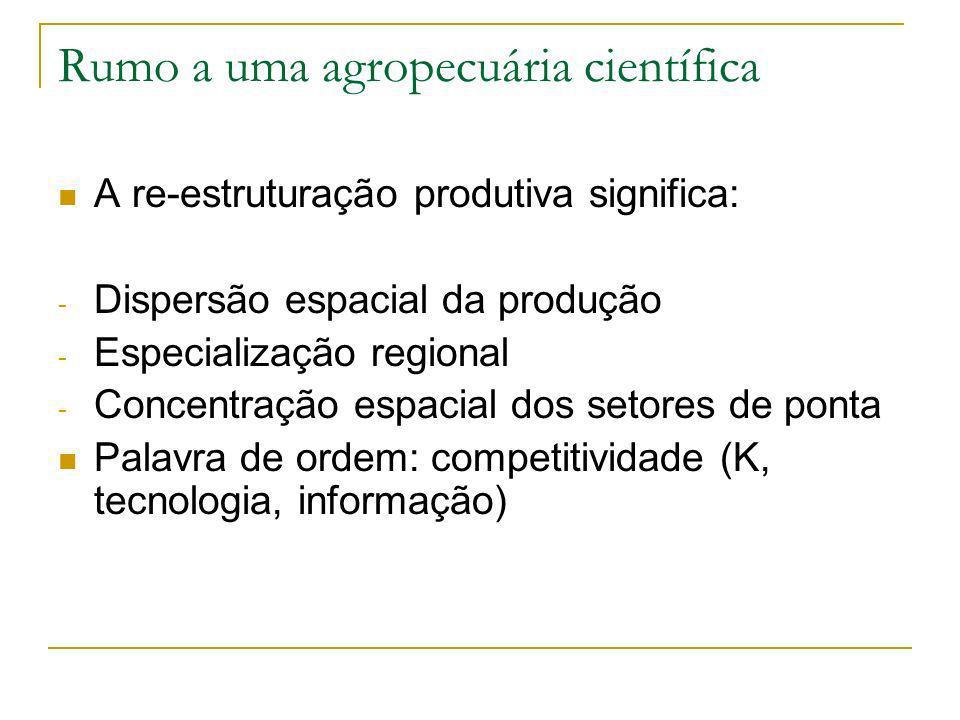 Rumo a uma agropecuária científica A re-estruturação produtiva significa: - Dispersão espacial da produção - Especialização regional - Concentração espacial dos setores de ponta Palavra de ordem: competitividade (K, tecnologia, informação)