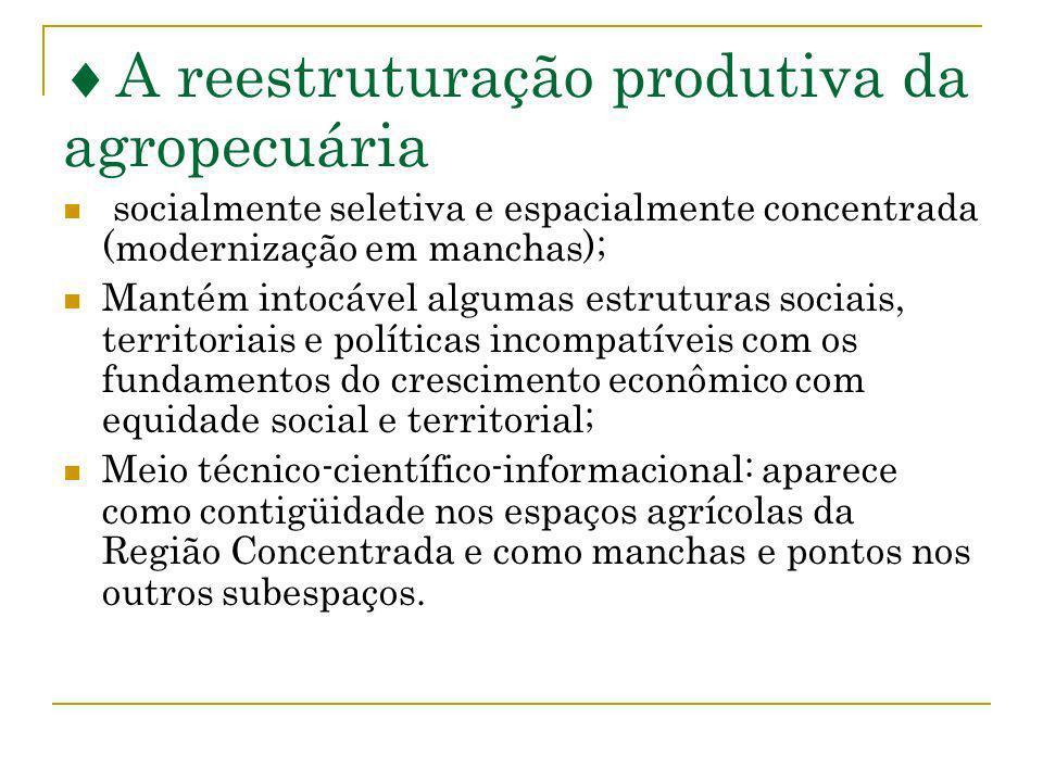 A reestruturação produtiva da agropecuária socialmente seletiva e espacialmente concentrada (modernização em manchas); Mantém intocável algumas estrut