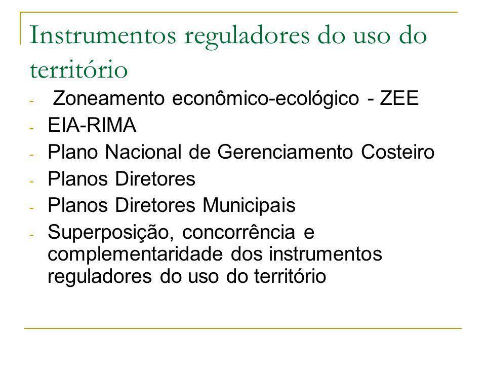 Instrumentos reguladores do uso do território - Zoneamento econômico-ecológico - ZEE - EIA-RIMA - Plano Nacional de Gerenciamento Costeiro - Planos Diretores - Planos Diretores Municipais - Superposição, concorrência e complementaridade dos instrumentos reguladores do uso do território