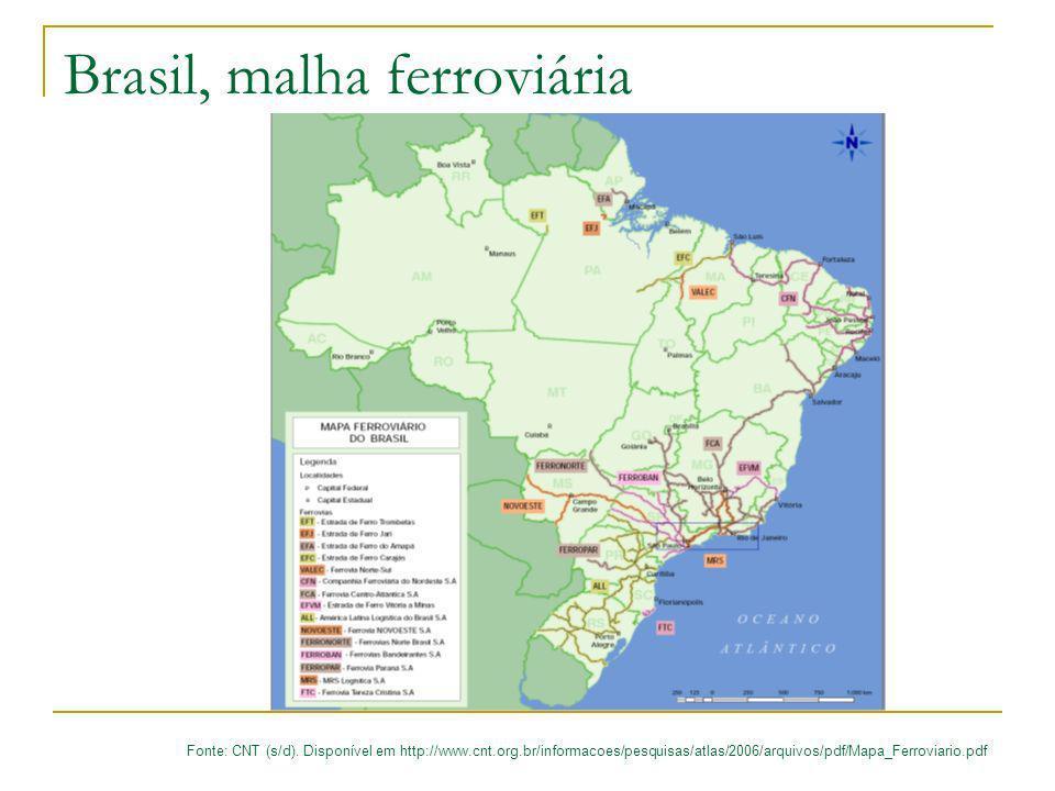 Brasil, malha ferroviária Fonte: CNT (s/d). Disponível em http://www.cnt.org.br/informacoes/pesquisas/atlas/2006/arquivos/pdf/Mapa_Ferroviario.pdf