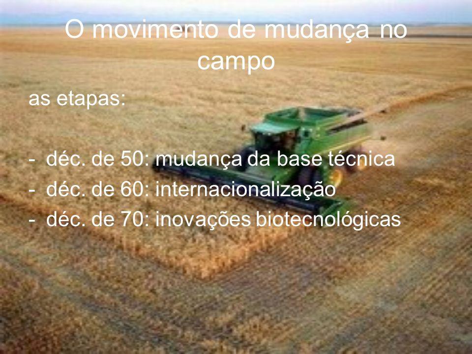 O movimento de mudança no campo as etapas: -déc. de 50: mudança da base técnica -déc. de 60: internacionalização -déc. de 70: inovações biotecnológica