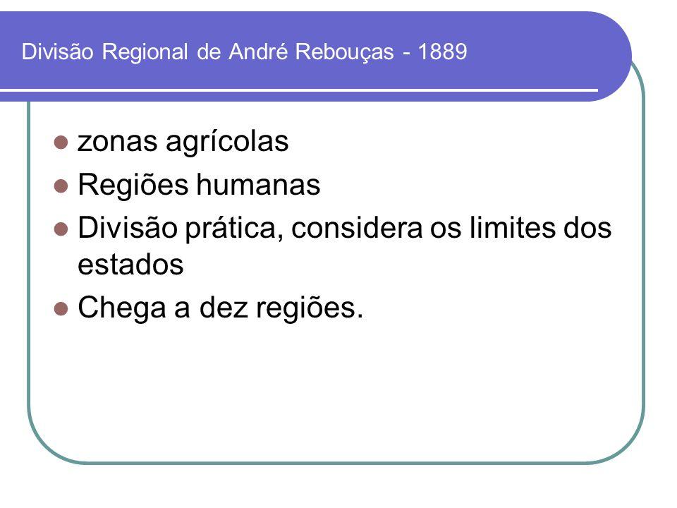 Divisão Regional de André Rebouças - 1889 zonas agrícolas Regiões humanas Divisão prática, considera os limites dos estados Chega a dez regiões.