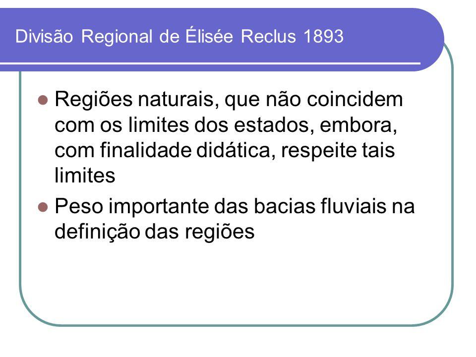 Divisão Regional de Élisée Reclus 1893 Regiões naturais, que não coincidem com os limites dos estados, embora, com finalidade didática, respeite tais
