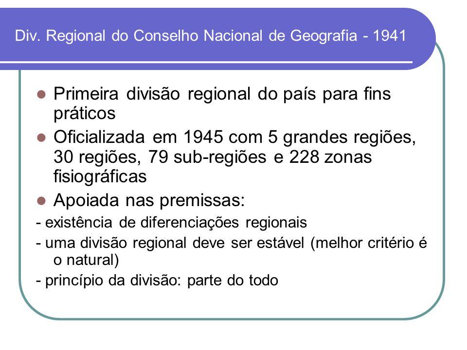Div. Regional do Conselho Nacional de Geografia - 1941 Primeira divisão regional do país para fins práticos Oficializada em 1945 com 5 grandes regiões