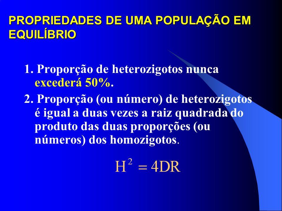 ESTABELECIMENTO DO EQUILÍBRIO 4 Uma propriedade da lei de Hardy-Weinberg é que o equilíbrio genético é alcançado após uma única geração de acasalament